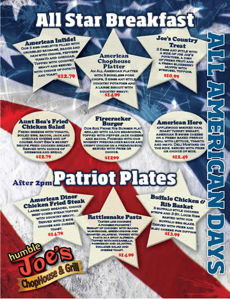 All American Patriot Days Menu