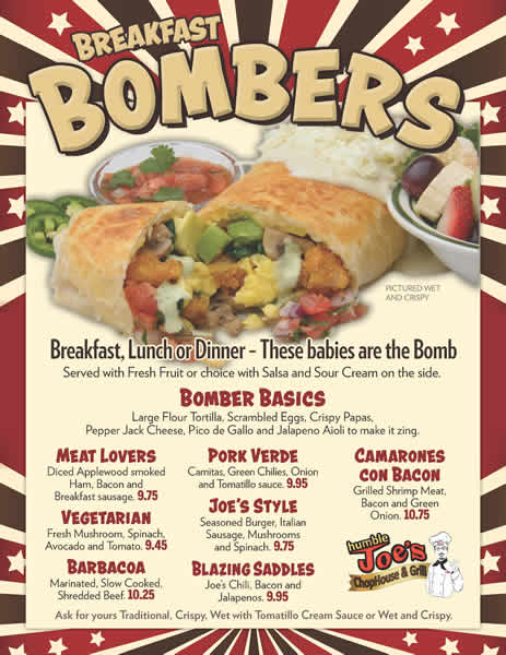 Breakfast Bombers Menu