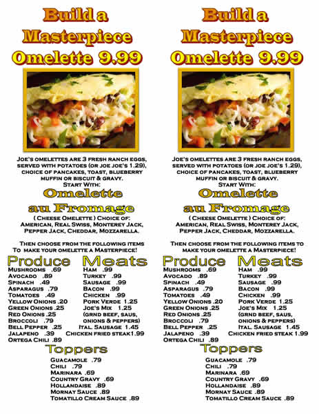 Build a Masterpiece Omelette Menu