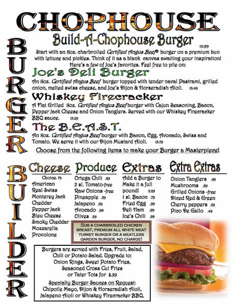 Chophouse Burger Builder Menu