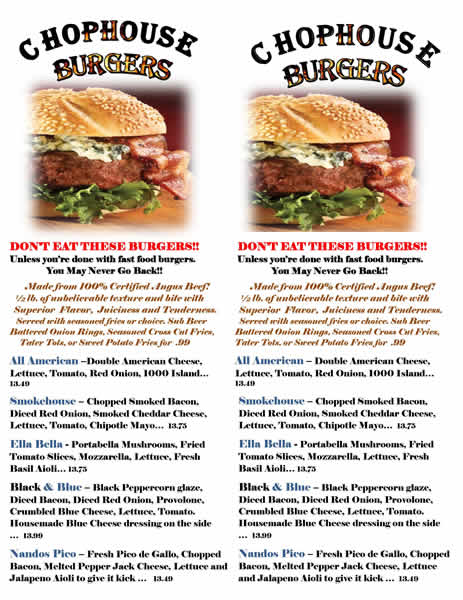 Chophouse Burger Menu