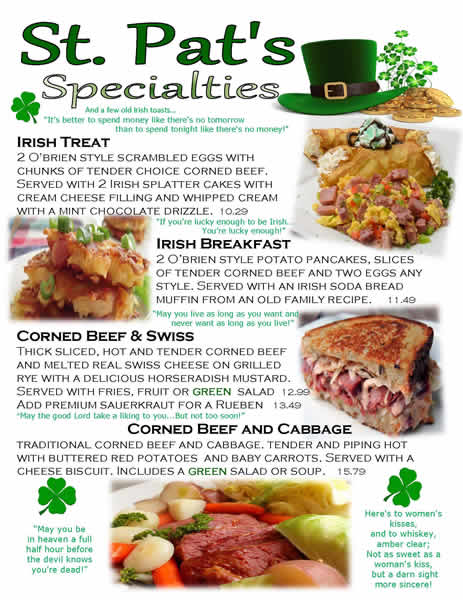 St. Pats Days Menu
